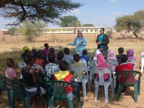 Teaching Sunday school in Tobane