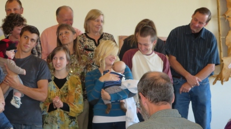 Asher James Krissovich - being dedicated to the Lord along with 5 other babies at Last Chance Chapel